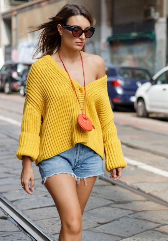 Модный образ в стиле деним denim shorts