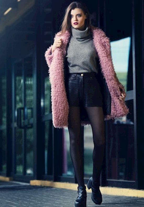 Модный образ в стиле casual fur coat