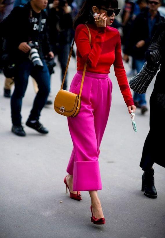 Модный образ в стиле Color block Fuchsia