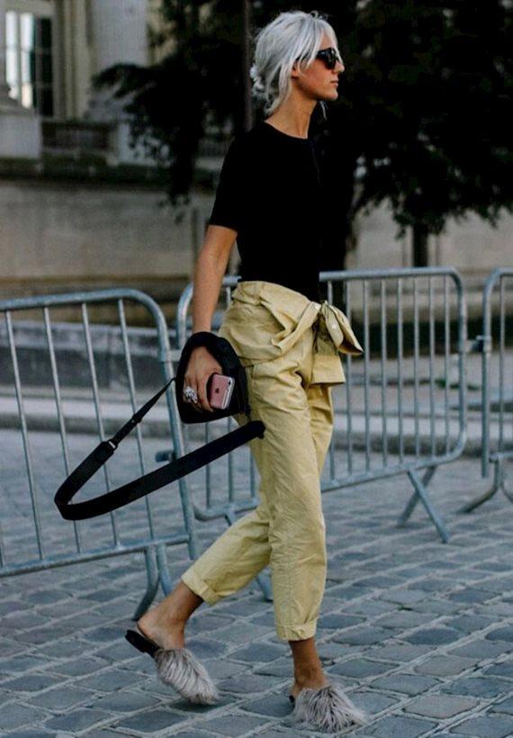 Модный образ в стиле Street style fur mules
