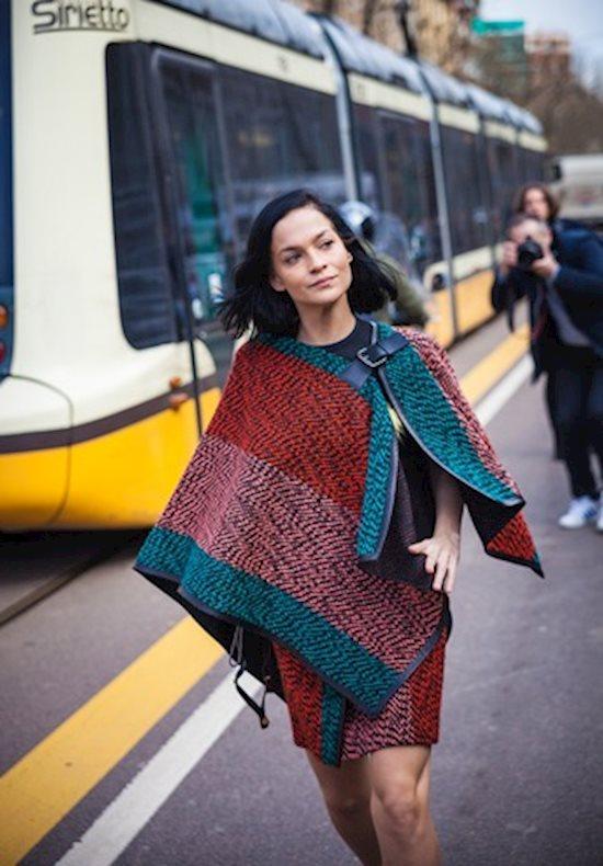 Модный образ в стиле casual poncho