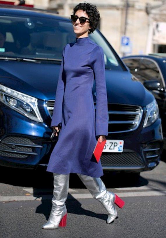 Модный образ в стиле городской шик silver boots