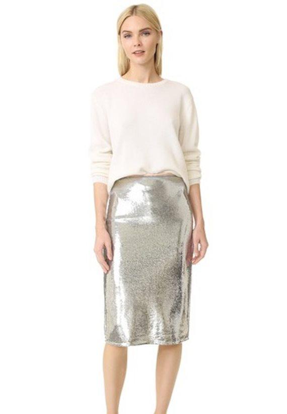 Модный образ в стиле диско Серебряная юбка