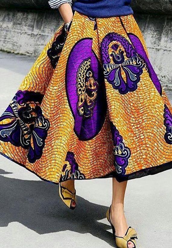 Модный образ в стиле Ретро Colorful skirt