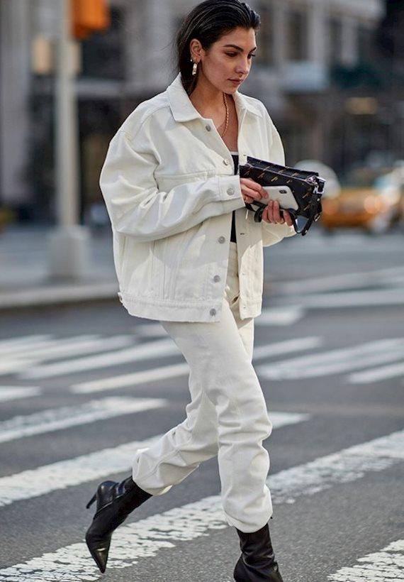 Модный образ в стиле деним White denim
