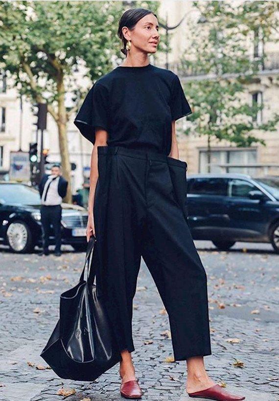 Модный образ в стиле минимализм total black