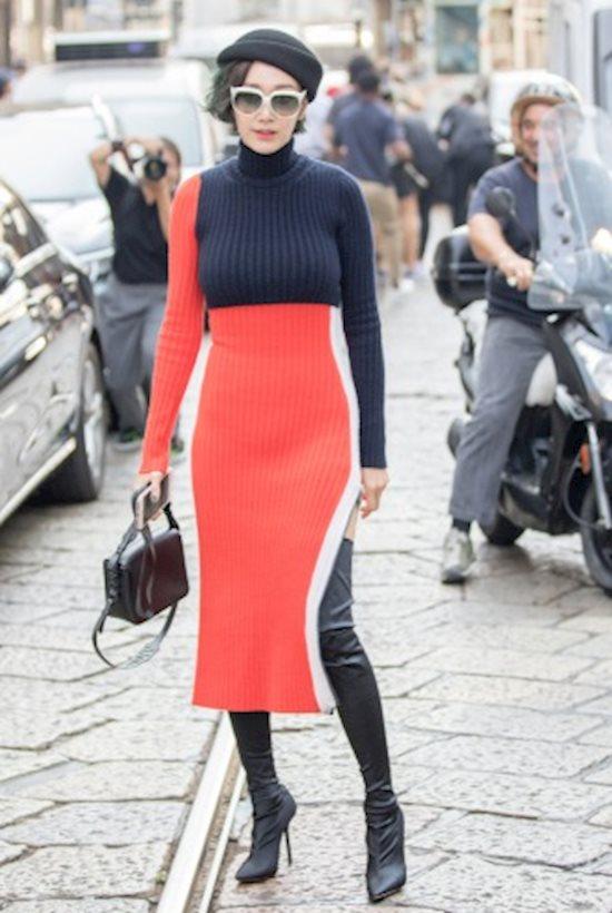 Модный образ в стиле casual midi dress
