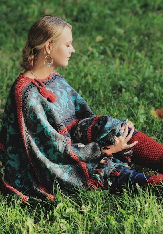 Модный образ в стиле Кантри Poncho time