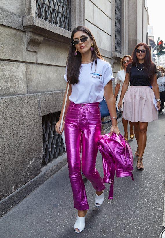 Модный образ в стиле городской шик pink metallic