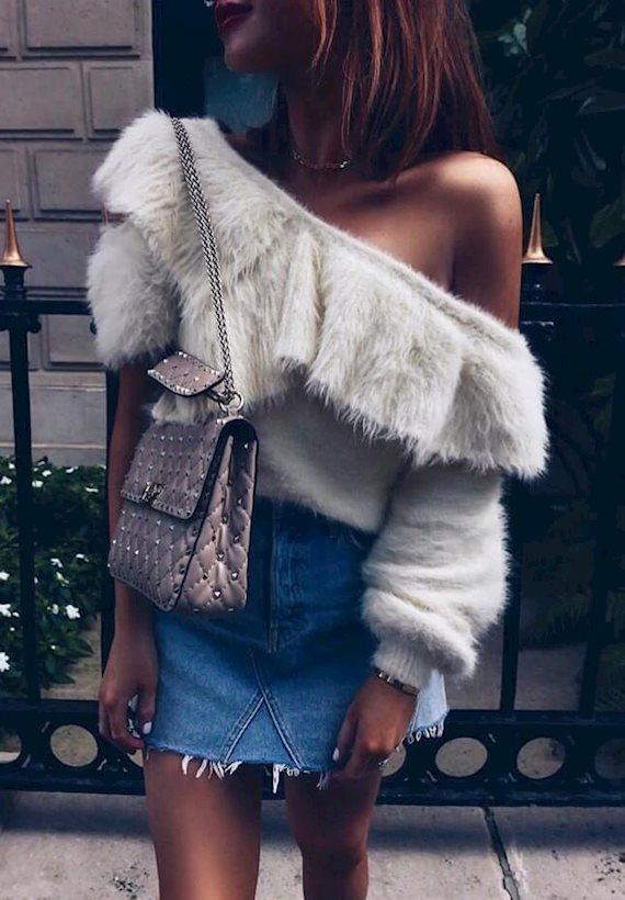 Модный образ в стиле деним Fur&jeans
